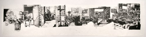 """Dawn Clements - """"Mrs. Bourne's Bedroom (East Side, West Side, 1949),"""" 2012, Sumi ink on paper"""
