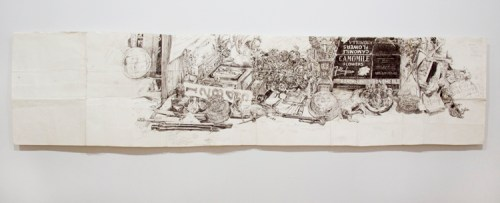 """Dawn Clements - """"My Desk (Ballpoint),"""" 2009, Ballpoint pen ink on paper, 18.75 x 79.75 inches"""