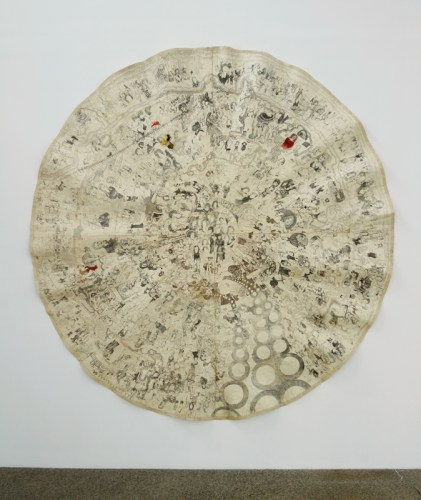 """Dawn Clements - """"Oval,"""" 1995–2000, Ballpoint pen ink and gouache on paper, 125 x 122 inches Installation view Mana Contemporary NJ, Biergarten Gallery. May 2021"""