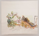"Dawn Clements - ""Plant and Shoes,"" 2015, Watercolor on paper, 75 x 83 inches"