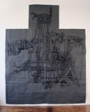"""Dawn Clements - """"Ruin,"""" 2008, Sumi ink on gray paper, 143 x 116 inches"""