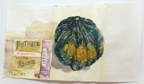 "Dawn Clements - ""Untitled (Squash),"" 2014, Watercolor on paper, 22 x 40 inches. Sold"