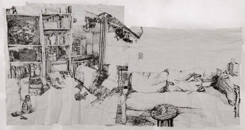Susan Rethorst's - 2011, Sumi ink on paper, approx. 120 x 230 inches