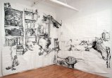 Susan Rethorst's - 2011, Sumi ink on paper, 120 x 230 inches (Installation view)