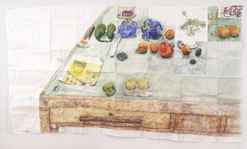 "Dawn Clements - ""Tabletop (Civitella Ranieri),"" Watercolor and gouache on paper, 53 x 92 inches"
