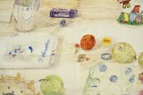 "Dawn Clements - ""Table (MacDowell),"" (detail), 2015, Watercolor on paper, 81 x 99 inches"