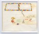 """Dawn Clements - """"Table With Mirror (MacDowell),"""" 2018, Watercolor, ballpoint pen ink on paper, 48.125 x 49.5 inches Photo: John Berens"""