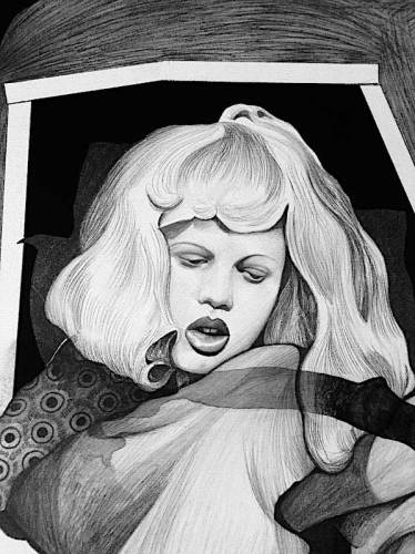 "Hugo Crosthwaite - ""Chingollywood Drawing 2,"" (Detail) Ink and wash on paper, 13 x 18 inches"
