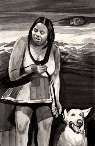 Dog Leashed - 2012, ink on paper, 8.5 x 5.5 inches