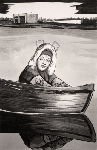 East River Boat - 2012, ink on paper, 8.5 x 5.5 inches