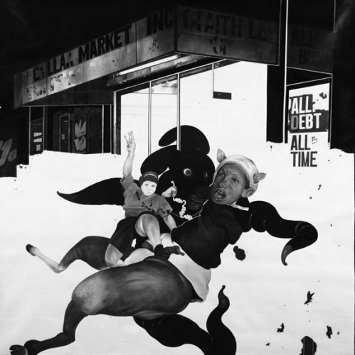Fawned Over - 2009, Graphite and Charcoal on Canvas, 72 x 72 inches
