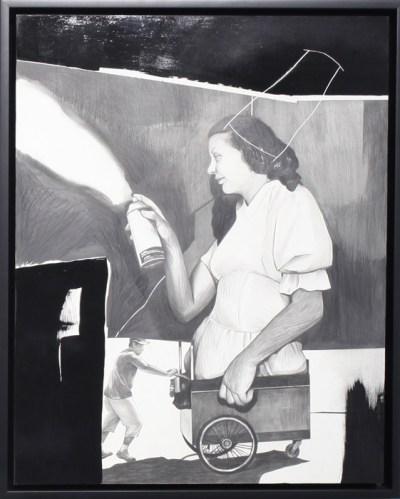 "Hugo Crosthwaite - ""Fire Cart,"" 2012, Drawing, pencil, black acrylic on clay board, 20 x 16 inches"