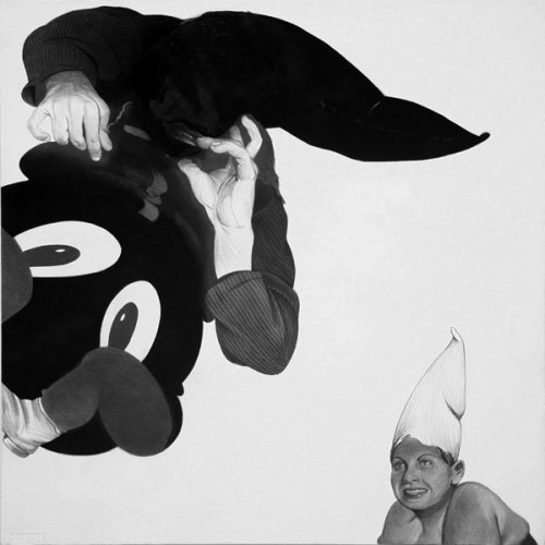 Hoods - 2009, Graphite and Charcoal on Canvas, 24 x 24 inches