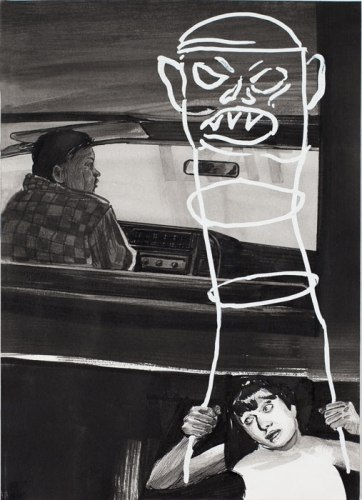 Taxi Fare - 2012, Ink and acrylic on paper, 8.5 x 5.5 inches. Sold