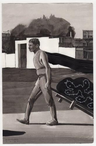 Hugo Crosthwaite - Untitled (HC009), 2021, Ink wash and acrylic on paper, 8.5 x 5.5 inches