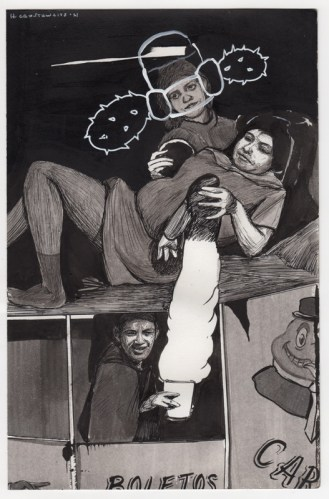 Hugo Crosthwaite - Untitled (HC012), 2021, Ink wash and acrylic on paper, 8.5 x 5.5 inches