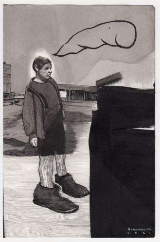 Hugo Crosthwaite - Untitled (HC024), 2021, Ink wash and acrylic on paper, 8.5 x 5.5 inches