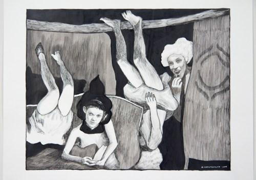 Hugo Crosthwaite - Untitled (Eusupio No.3), 2019, Ink wash and acrylic on paper, 14 x 17 inches