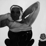Tight - 2009, Graphite and Charcoal on Canvas, 24 x 24 inches
