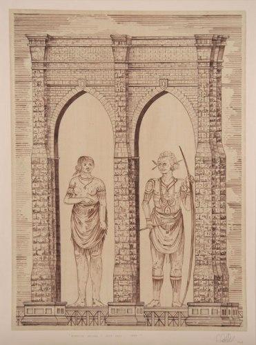 Brooklyn Bridge/ Chief Lady, Chief - 2008, Ink on paper, 32.25 x 24 inches