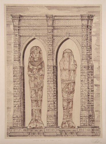 Brooklyn Bridge/ Mummy, Daddy - 2008, Ink on paper, 32.25 x 24 inches