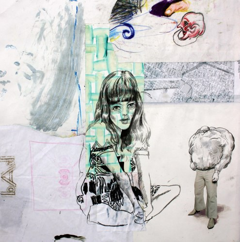 Untitled - 2014, Mixed media on paper, 24 x 24 inches