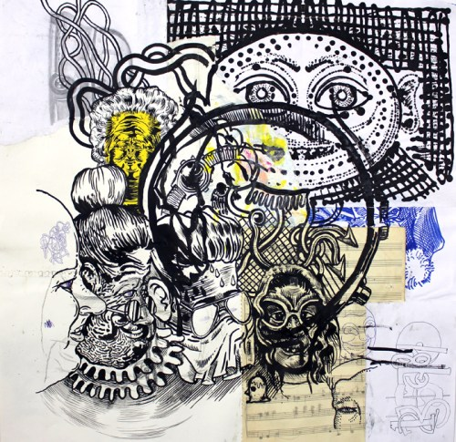 Ten Heads - 2014, Mixed media on paper, 24 x 24 inches