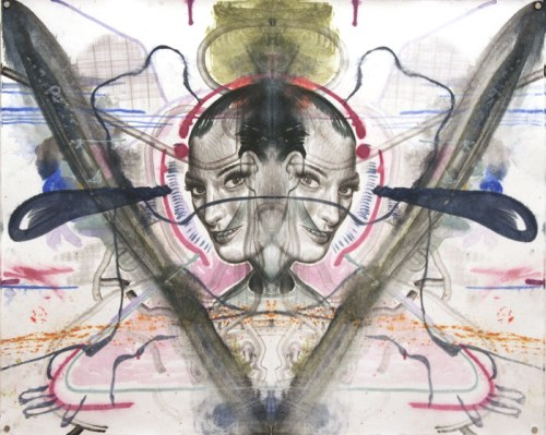Daniel Davidson - Mirror (Blue Teardrop), 2012, watercolor on paper, 19 x 24 inches