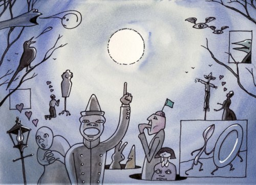 """Lunacy - 2011, Ink and watercolor on paper, 9 x 12 inches (Drawing from """"The Tide Waits For No Man"""" Film Strip)"""