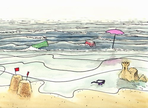 """Brian Dewan - """"Wash Away,"""" 2011, Ink and watercolor on paper, 9 x 12 inches (Drawing from """"The Tide Waits For No Man"""" Film Strip)"""