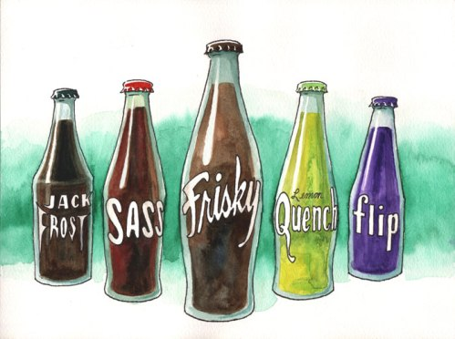 """Brian Dewan - """"Pop"""" (Film-strip Still), 2011, Ink and watercolor on paper, 9 x 12 inches"""