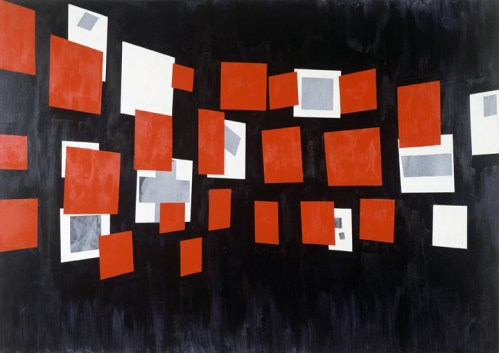 "David Diao (Postmasters Gallery) - ""Glissement,"" 1984, Acrylic paint on canvas, 70 x 100 inches"