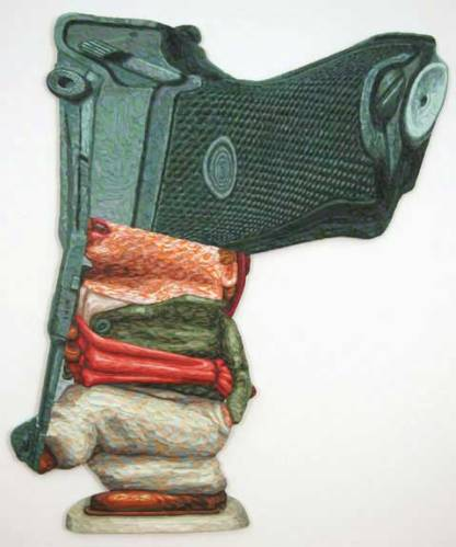 "James Esber - ""Luger,"" 2008, Plasticine, Approximately 48 x 40 inches"