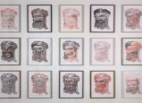 """James Esber - """"This is not a portrait"""" (detail), 2009-2010, ink on parchment, 18.25 x 15 inches each"""