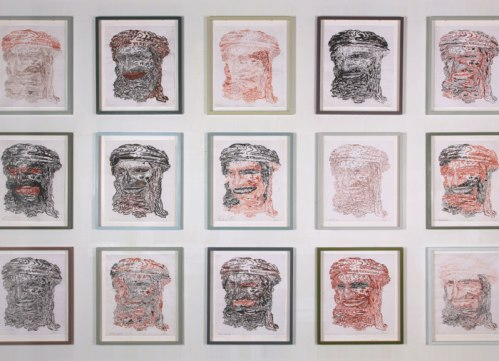 "James Esber - ""This is not a portrait"" (detail), 2009-2010, ink on parchment, 18.25 x 15 inches each"