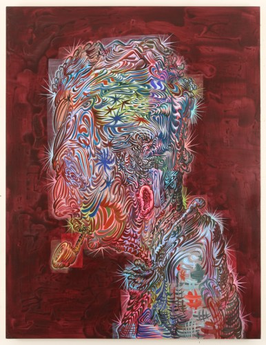 """James Esber - """"Rockwell,"""" 2015, Acrylic on canvas, 48 x 37 inches"""