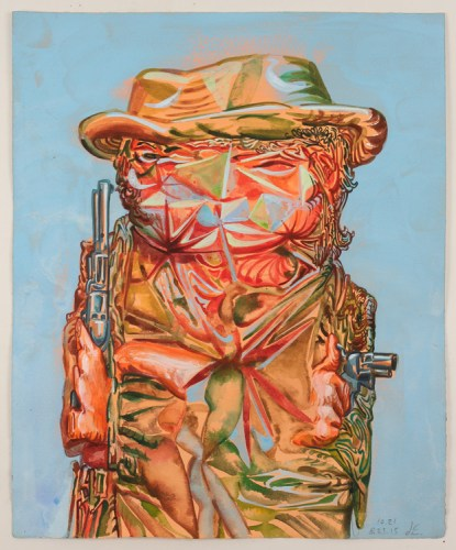 """James Esber - """"Untitled (Two Gun Cowboy),"""" 2015, Watercolor and acrylic on paper, 19.25 x 16 inches"""
