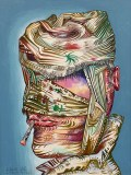"""James Esber - """"Bandaged Head,"""" 2021, Acrylic on paper mounted to PVC panel, 16 x 12 inches"""