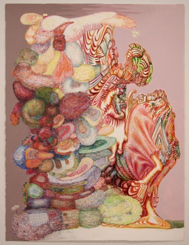 """J. Fiber - """"Fuzzy Math,"""" 2007, Ink and colored pencil on paper, 29 1/2 x 22 inches"""