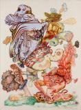 J. Fiber - Hansel Minus Gretel, 2011, Ink, acrylic, pencil on paper, 26 x 19 inches