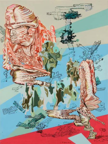 """J. Fiber - """"World War Me,"""" 2010, Acrylic, ink, and colored pencil on paper, 24 x 18 inches"""