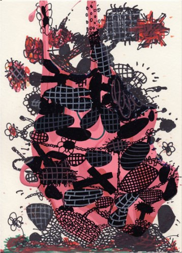 """Jane Fine - """"2009-6,"""" 2008, Acrylic and Ink on Paper, 5 x 7 inches"""