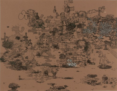 """Jane Fine - """"Polymnia Street,"""" 2011, Ink on paper, 19 x 27.5 inches"""