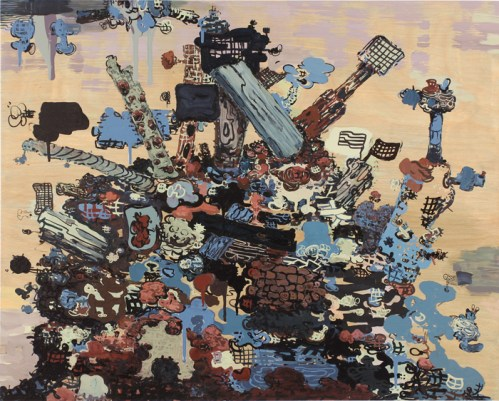 Waste Management - 2012, Acrylic and ink on wood panel, 24 x 30 inches