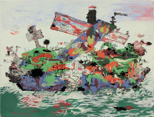 Sinking Ship - 2011, Acrylic and ink on paper, 22 x 30 inches