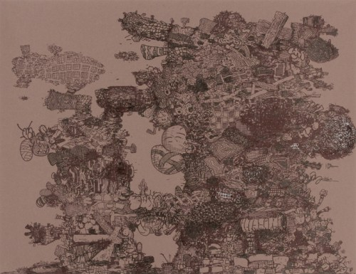 """Jane Fine - """"Bumping Uglies ,"""" 2011, Ink on paper, 20 x 30 inches"""