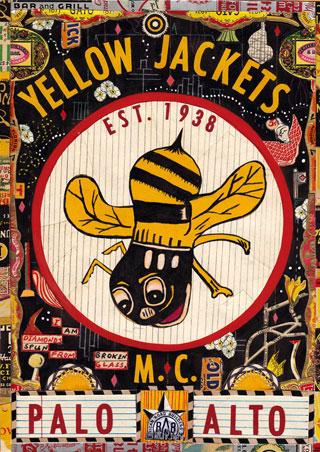 """Tony Fitzpatrick - """"Yellow Jackets,"""" 2012, Mixed media on paper, 10 3/8 x 7 3/8 inches"""