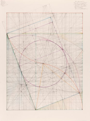 "Mark Reynolds - ""Greater and Lesser Dyad Series: Ogee Curve, 12.11,"" 2011, Graphite, colored inks, and pastel on cotton paper, 15 x 11 inches"