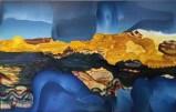 "Elliott Green - ""Invention,"" 2018, Oil on linen, 36 x 80 inches"