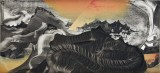 "Elliott Green - ""Serpentine Smoke,"" 2017, Oil on linen, 14.5 x 32 inches"